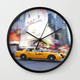 Yellow taxi cab in times square Wall Clock