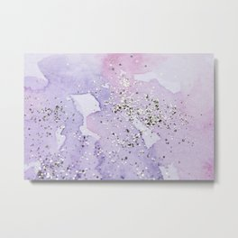 Pastel Glitter Watercolor Painting Metal Print
