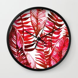 Bright Red Jungle Leaves - Tropical Safari Botanicals Wall Clock