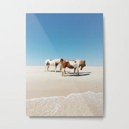 Summer Shore Horses Metal Print