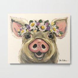 Farm Animal Art, Pig Art Metal Print