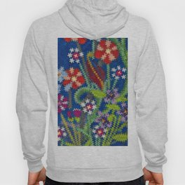 Starry Floral Felted Wool, Blue Hoody