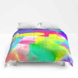 Neon Emotion | Abstract Stripes Neon Artistic Watercolor Pattern Comforters