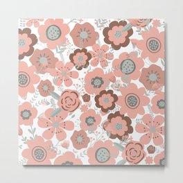 Wall Flowers, Pink, Cute, Floral Prints Metal Print