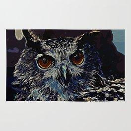 owl strix bird v2 vector art foggy night Rug