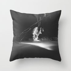 Minimalistic black and white waterfall Throw Pillow