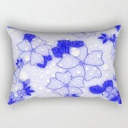 Floral Design EMMY blue Rectangular Pillow