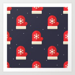 Red Christmas Gloves Pattern Art Print