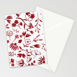 Little Red Flowers 5 Stationery Cards