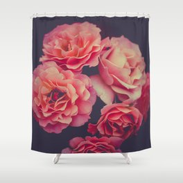 Vintage Bouquet Of Pink Flowers Against A Black Background Shower Curtain