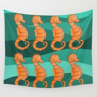 seahorse Wall Tapestries featuring Seahorse by mailboxdisco