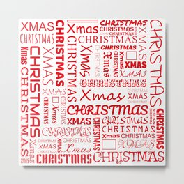 Christmas Typography Metal Print