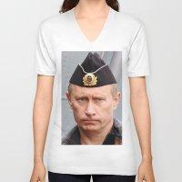 putin V-neck T-shirts featuring Putin seaman. by Mikhail Zhirnov