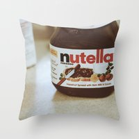 nutella Throw Pillows featuring Nutella by Danielle Clark