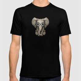 Cute Baby Elephant Calf with Reading Glasses on Blue T-shirt