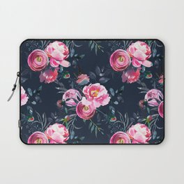 Navy and Bright Pink Floral Print Laptop Sleeve