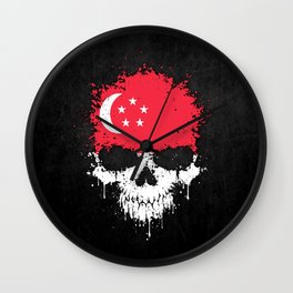 Flag of Singapore on a Chaotic Splatter Skull Wall Clock