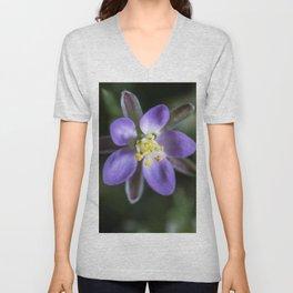Tiny purple star flower Unisex V-Neck