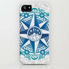 Journey to Moon Mountain | Turquoise Navy Ombré iPhone Case