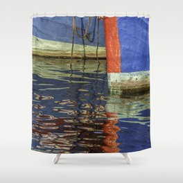 Colorful abstract boat reflection on water Shower Curtain