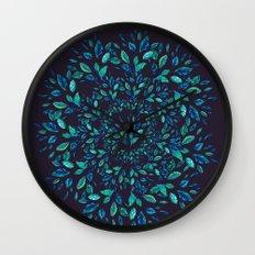 Blue Leaves Mandala Wall Clock