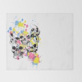 Skeleton Bone - Colored Vintage Skulls Throw Blanket