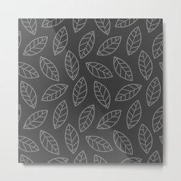 Leaves - gray on gray Metal Print