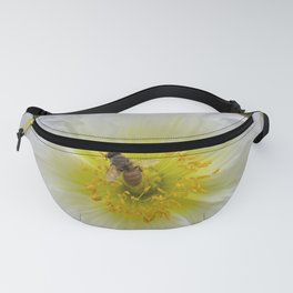 White Poppy with Bee Fanny Pack
