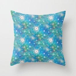 Blues Rainbow Florals Throw Pillow