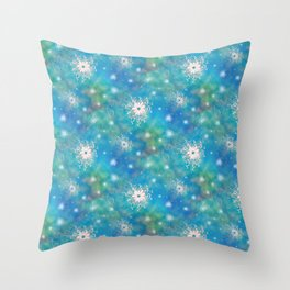 Blues Rainbow Florals Throw Pillow
