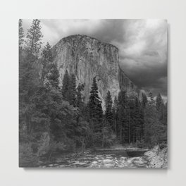 Yosemite National Park, El Capitan, Black and White Photography, Outdoors, Landscape, National Parks Metal Print
