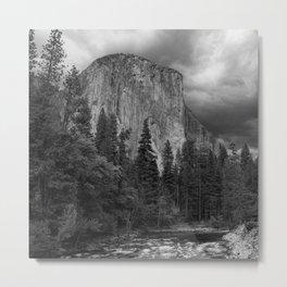 Yosemite National Park, El Capitan, Black and White Photography, Outdoors, Landscape, National Parks Metal Print