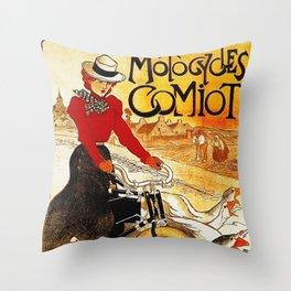 Vintage Comiot Motorcycle Ad - Paris Throw Pillow