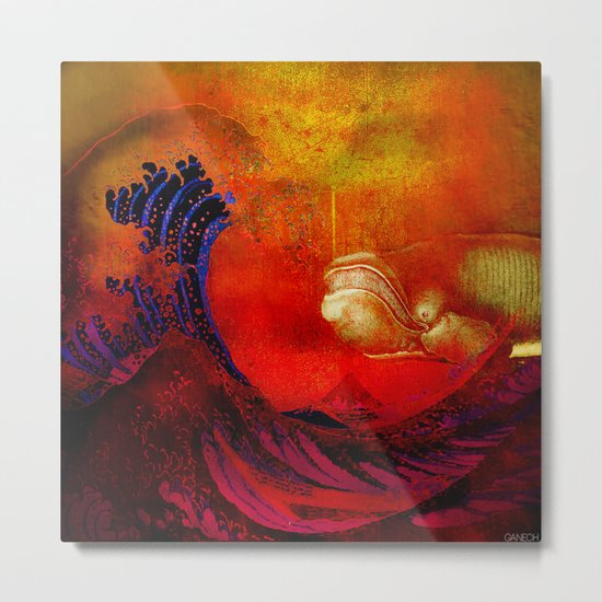 The whale and the wave Metal Print