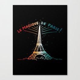 Le Magique De Paris (the magic of...) French Artwork, Eiffel Tower Print Canvas Print