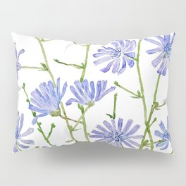 blue chicory watercolor Pillow Sham