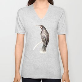 Huia - a native New Zealand bird 2011 Unisex V-Neck