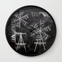 steampunk western country chalkboard art agriculture farm windmill patent print Wall Clock