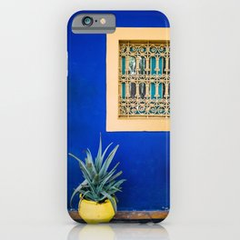 Moroccan Garden In Blue | Yellow Flower Pot | Agave Marrakesh iPhone Case