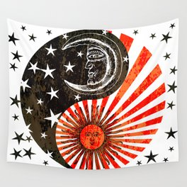 Sun Moon & Stars Yin Yang Distressed Red & Black Design Wall Tapestry