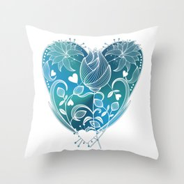 White Inked Floral Heart - Blues Throw Pillow