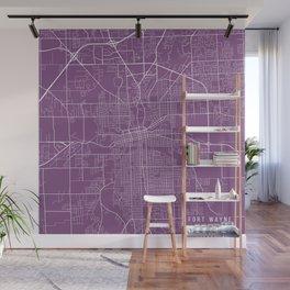 Fort Wayne Map, USA - Purple Wall Mural