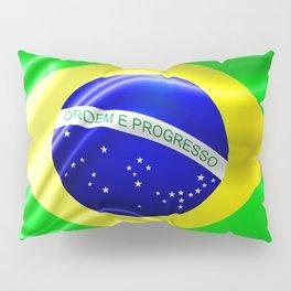 Brazil Flag Waving Silk Fabric Pillow Sham