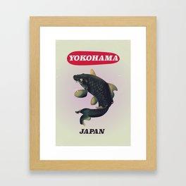 Yokohama Japan vintage travel poster Framed Art Print