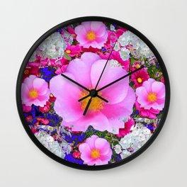 MODERN ART FUCHSIA ROSES  WHITE FLORAL GARDEN Wall Clock