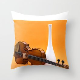 Still life with violin and white vase on an orange Throw Pillow