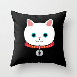 Ethereum Cat Shirt and Hoodie Throw Pillow