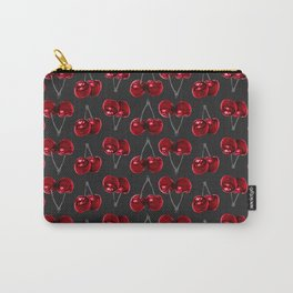 Modern Red Cherries on Charcoal Black Carry-All Pouch