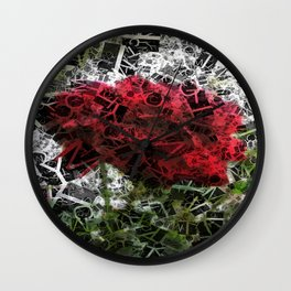 Red Rose with Light 1 Letters 2 Wall Clock
