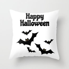 Happy Halloween - Bats Throw Pillow
